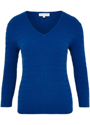 Austin Reed Cable Knit V Neck Jumper Blue