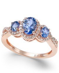 Macy's Tanzanite 1 Ct. T.W. And Diamond 1 4 Ct. T.W. Three Stone Ring In 14K Rose Gold