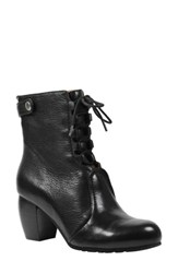 L'amour Des Pieds Women's Pontedera Lace Up Bootie Black Leather