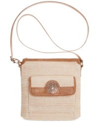Giani Bernini Filigree Straw Crossbody Natural