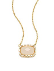 Saks Fifth Avenue Stone Pendant Necklace Gold Pink