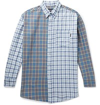Noon Goons Button Down Collar Panelled Checked Cotton Flannel Shirt Blue