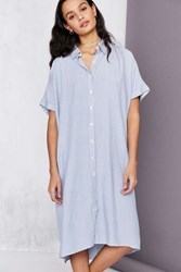 Silence And Noise Button Down Cocoon Shirt Midi Dress Blue Multi
