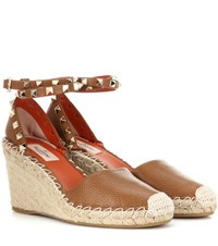 Valentino Rockstud Leather Wedges Brown