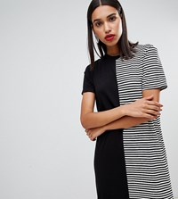 Boohoo Spliced Stripe T Shirt Dress Black