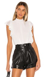 1.State 1. State Flutter Sleeve Smock Neck Blouse In White. Soft Ecru