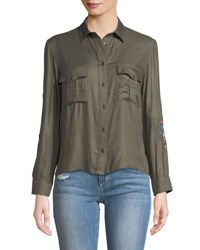 Dex Embroidered Cropped Button Front Blouse Olive
