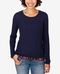 Lucky Brand Layered Look Sweater American Navy