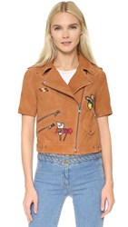 Mira Mikati Suede Embroidered Short Sleeve Jacket Tan