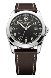 Victorinox 'Infantry' Leather Strap Watch 40Mm Grey Chocolate