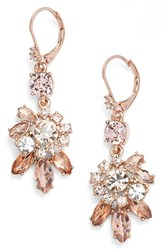 Marchesa Women's Crystal Drop Earrings Silk Rose Gold