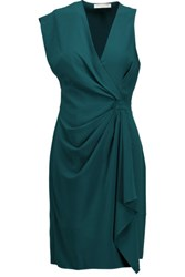 Halston Heritage Gathered Crepe Mini Dress Teal