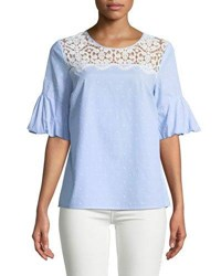 Cynthia Steffe Ruffle Sleeve Lace Yoke Blouse Blue