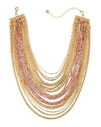 Lydell Nyc Multi Strand Layered Choker Necklace Pink
