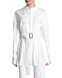 Calvin Klein Kaimee Pleated Belted Blouse White