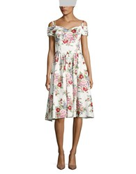 Chetta B Floral Print Fit And Flare Dress Ivory Multi