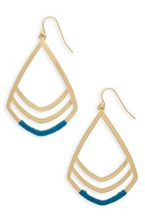 Canvas Jewelry Women's Teardrop Pendant Earrings Gold Teal