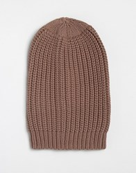 Asos Chunky Slouchy Beanie In Pink Pink