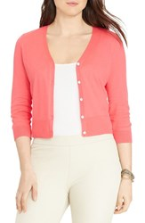 Plus Size Women's Lauren Ralph Lauren Cotton V Neck Cardigan Equestrian Coral