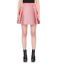 Martina Spetlova Woven Leather Skater Skirt Pink