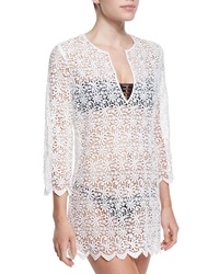 Miguelina Darcie Floral Crochet Tunic Coverup