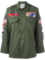 Night Market 3D Hibiscus Military Jacket Green