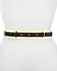 Elie Saab Thin Leather Belt W Golden Plate Black Women's