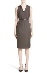 Max Mara Women's Dattero Belted Cotton Dress Dark Brown