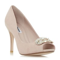 Dune Dolley Jewel Trim Peep Toe Court Shoes Blush