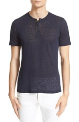 Men's The Kooples Faux Leather Trim Short Sleeve Henley