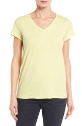 Eileen Fisher Women's Organic Cotton V Neck Tee Lemon Ice