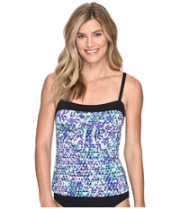 Nike Fracture Bandeau Tankini Top Medium Blue Women's Swimwear