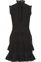 Alexander Mcqueen Ruffled Metallic Stretch Silk Blend Mini Dress Black