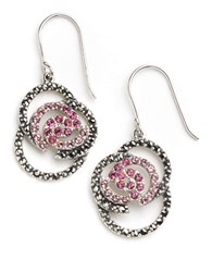 Lord And Taylor Openwork Floral Drop Earrings Marcasite