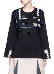 Toga Archives Mix Applique Flare Sleeve Jersey T Shirt Black