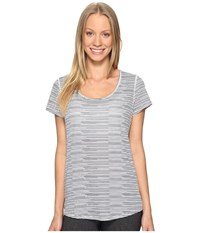 Lucy S S Workout Tee Black Broken Stripe Print Women's Workout Gray