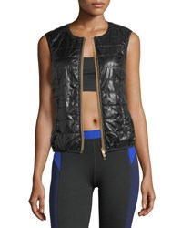 Monreal London Quilted Zip Front Gilet Black