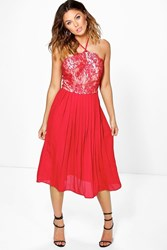 Boohoo Lace Top Pleated Skirt Skater Dress Red
