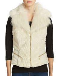 Guess Gabby Faux Fur Vest Milk White