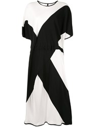 Taylor Void Two Tone Flared Dress White