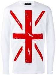 Dsquared2 Union Jack Applique T Shirt Men Cotton L White