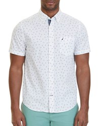 Nautica Anchor Print Cotton Shirt Bright White