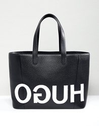 Hugo Tote Bag With Textured Logo Blakc Combi Black