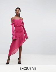 Dark Pink Dobbie Mesh Dress With Contrast Frill Sleeves And Sheer Asymmetric Hem Deep Magenta Pink