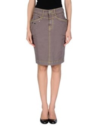 Manila Grace Denim Skirts Dove Grey