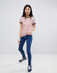 Lee Stripe Ringer T Shirt Faded Pink