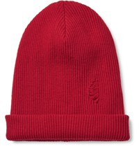 John Elliott Distressed Ribbed Wool Beanie Red