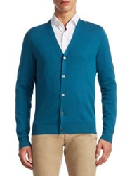 Saks Fifth Avenue Collection Tech Silk And Cashmere Cardigan Navy Teal