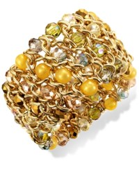 Styleandco. Style And Co. Gold Tone Yellow Bead Woven Stretch Bracelet
