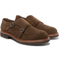 Brunello Cucinelli Suede Monk Strap Shoes Brown
